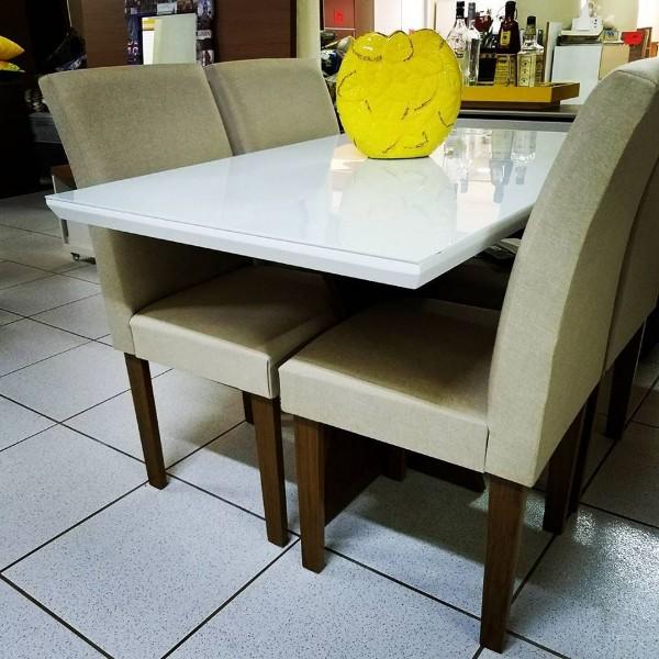 Mesa off white mesa retangular mesa pequena de 4 lugares for Bases de mesas cromadas