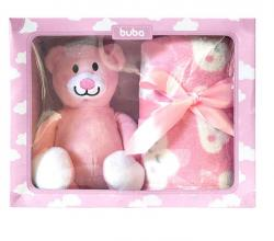 Bebês e Crianças -  Manta e Ursinho de Pelúcia Buba Baby Menina/Menino -  Manta e Ursinho de Pelúcia Buba Baby Menina/Menino