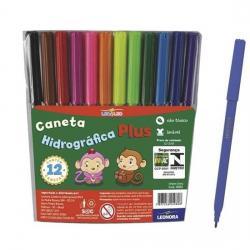 Livraria e papelaria - Caneta hidrográfica plus 12 cores leo & leo - Caneta hidrográfica plus 12 cores leo & leo