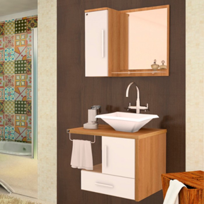 Gabinete para Banheiro Genova Andria 60 cm  Piracicaba  União Materiais Par -> Gabinete De Banheiro Genova