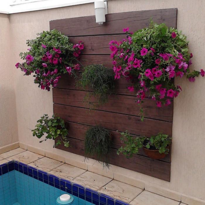 cerca para jardim vertical: de Jardins – Piracicaba – Painel de Madeira Jardim Vertical