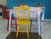 Mesa de Jantar Madeira Colorida 4 Cadeiras