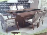Sala de Jantar Mesa de Jantar tampo de madeira 6 cadeiras 6 lugares detalhe vidro preto