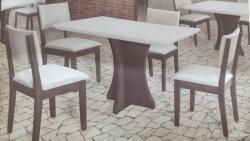 Mesa de Jantar, sala de Jantar, tampo off white, 4 lugares, tampo de madeira, 1,20x0,80
