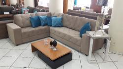 Sofá de canto reto, sofá em L, sofá curva, sofá com detalhe de costura
