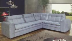 sofá de canto reto, sofá em L, sofá curva, sofá com pillow top