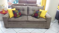 Sofá 3x2 lugares, sofá com pillow top, sofá com costuras, confortável, braco fino