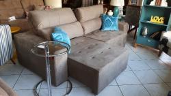Sofá retrátil/reclinável de 2,5 m, abertura de 1,80 m, fibra de silicone, costura no assento