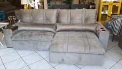 Sofá retrátil e reclinável, sofá com detalhe em costura, sofá de 2,90 m
