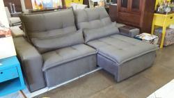Sofá retrátil e reclinável, sofá com 2,50 m, sofá com pillow top, sofá com mola, sofá com detalhe em costura