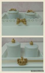 Kit's higiene com potes Porcelana Resina MDF