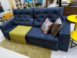 Sofá retrátil e reclinável, sofá com chaise, sofá com 2,5m, sofá com pillow top, sofá com detalhe em costura no encosto
