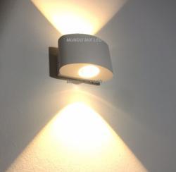 ARANDELA FACHO DUPLO C/ LENTE  LED 5 WATTS CADA LADO 3000 K